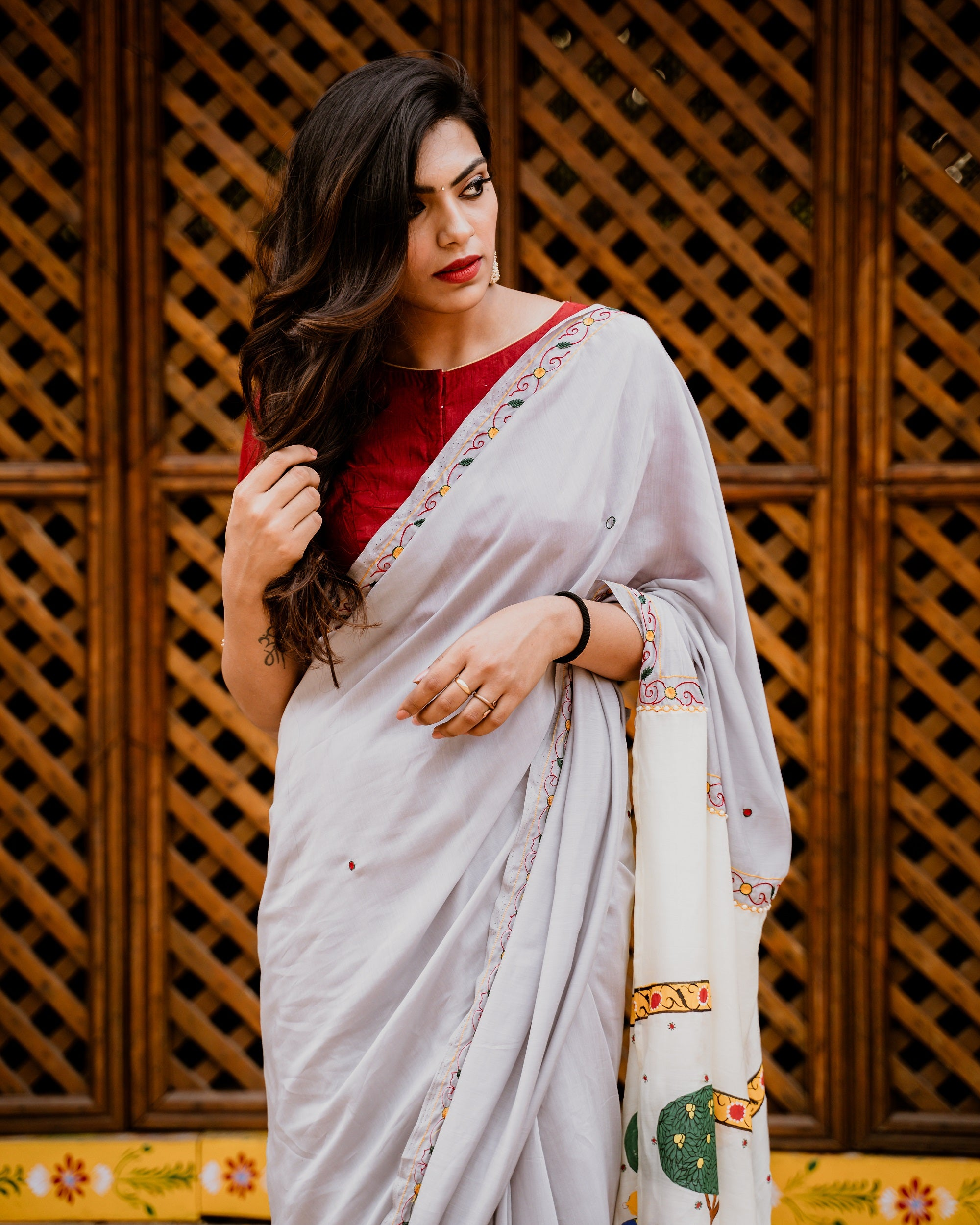 Liva Modal Silk Saree with Handpainted Cheriyal Pallu - Ash