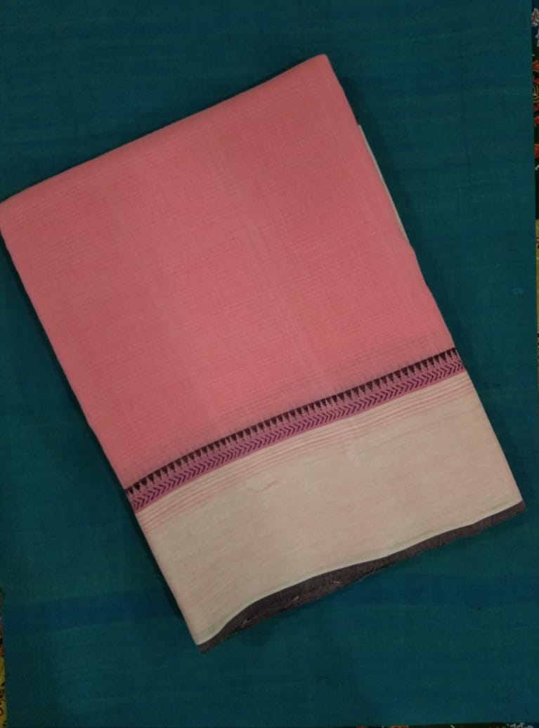 Godavari Cotton Saree with a Temple Border - Baby Pink