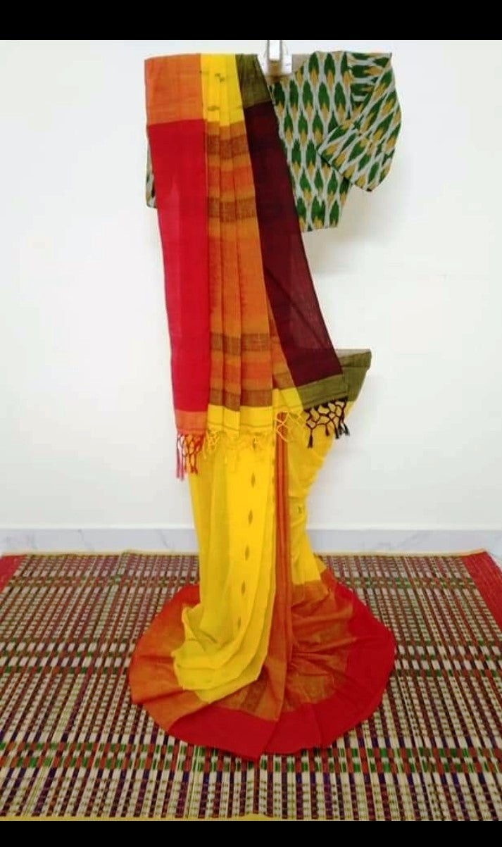 Phulia Cotton Saree with Woven Motifs and Border - Yellow