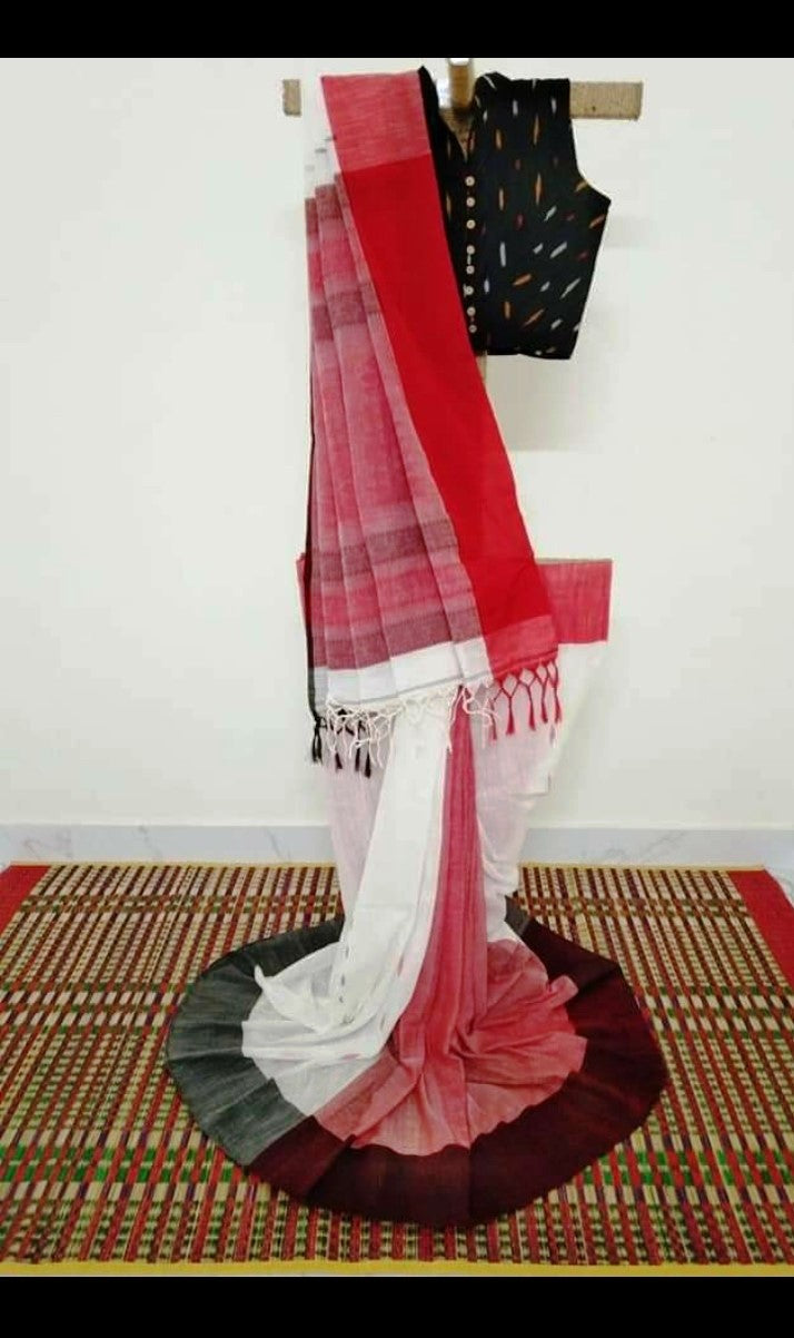 Phulia Cotton Saree with Woven Motifs and Border - White