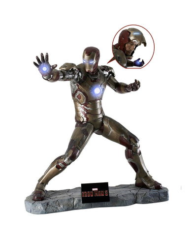 Iron Man 3: IRON MAN (Battle Version) with RDJ Head - Life-size Collectible Statue