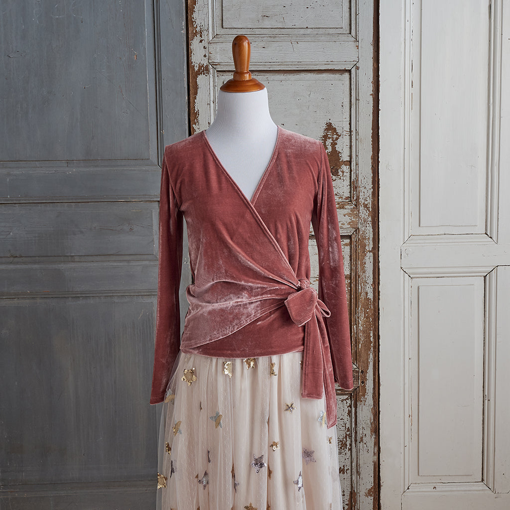 All Wrapped Up Velour Top (Women) - Dusty Pink (FINAL SALE)