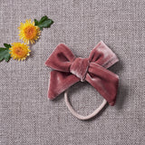 Velvety Bow Soft Headband - Dusty Pink