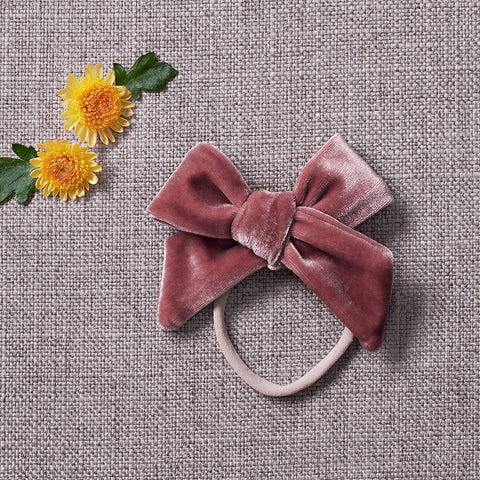 Velvety Bow Soft Headband - Dusty Pink (FINAL SALE)