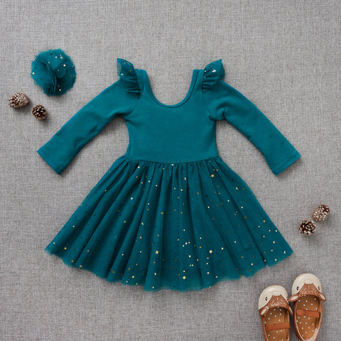 Ballerina Dress - Peacock Blue (FINAL SALE - Size 6/9m Only)