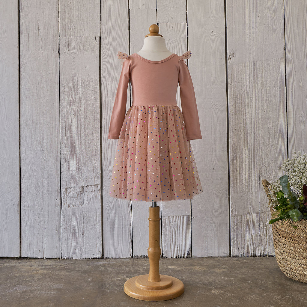 Ballerina Dress - Peach Confetti (FINAL SALE)