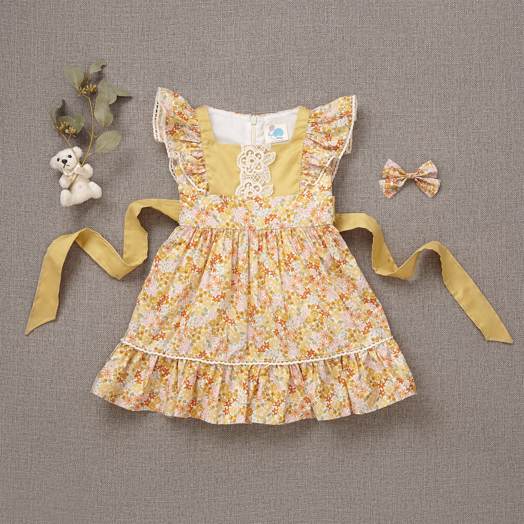 Flutter Dress - Yellow Bouquet