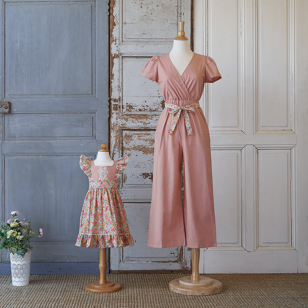 Women's Jumpsuit - Rose Linen (Strawberry Blossom)