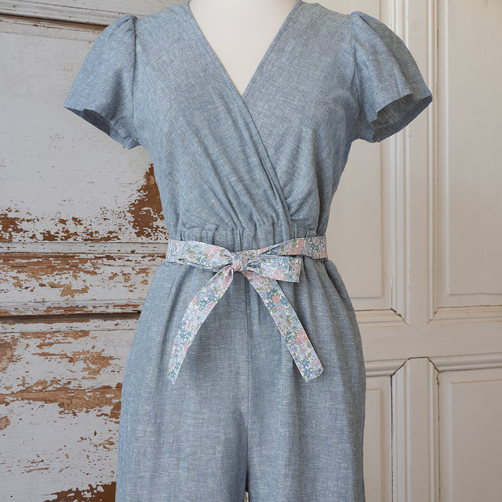 Women's Jumpsuit - Chambray Linen (Blue Bouquet)
