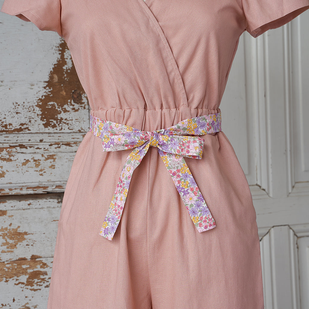 Women's Jumpsuit - Rose Linen (Pink Bouquet)