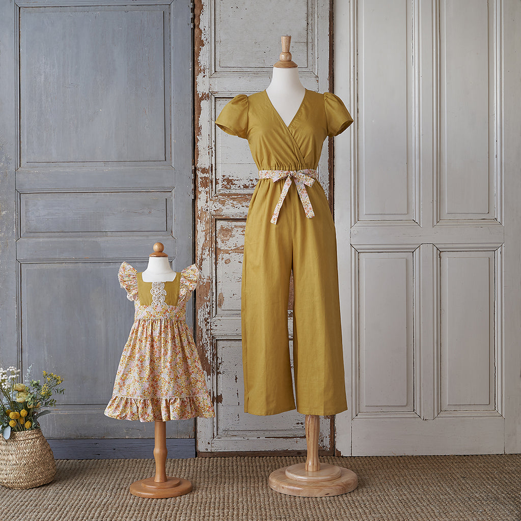 Women's Jumpsuit - Mustard Linen (Yellow Bouquet)