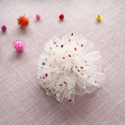 Tulle Hair Clip - Ivory Confetti