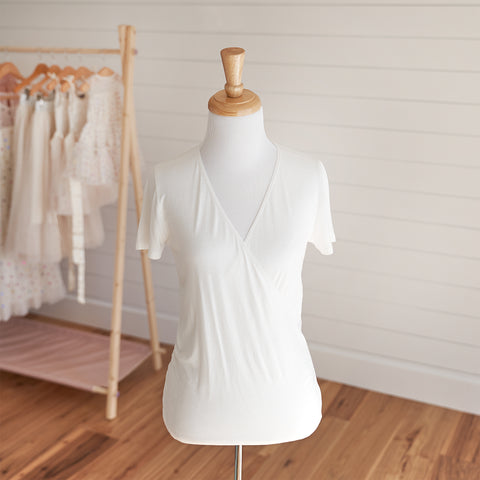 Ballet Wrap Top - Ivory (FINAL SALE - Size L & XL)