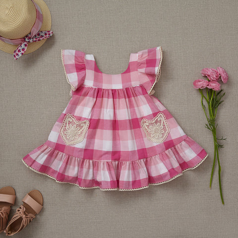 Lil' House on the Prairie Dress - Ranunculus Pink