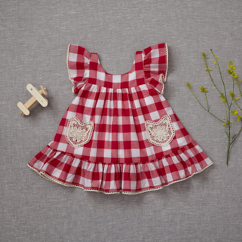 Lil' House on the Prairie Dress - Cherry Red
