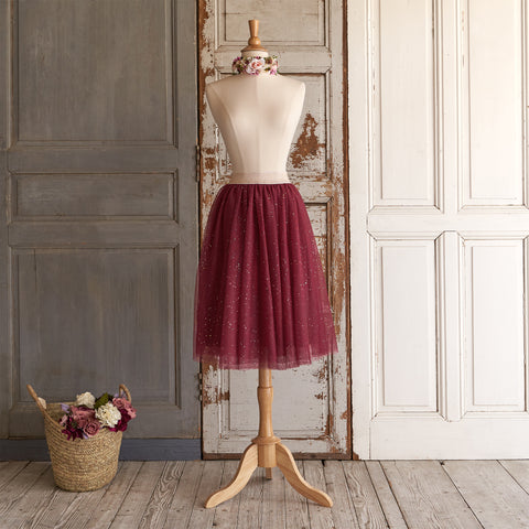Ballerina Tulle Midi Skirt (Women) - Winterberry (Size L & XL Only)