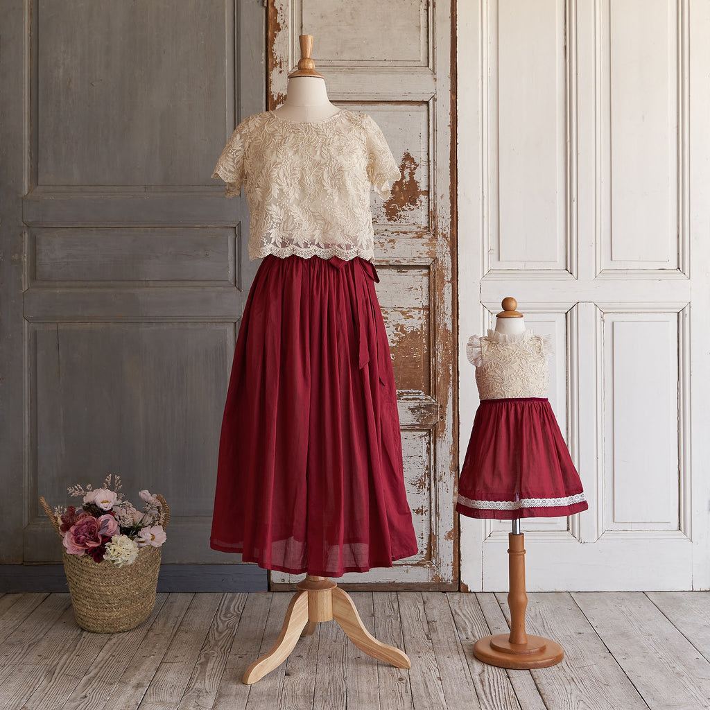 Crispy Cotton Skirt (Women) - Crimson