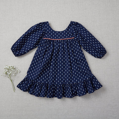Fall Prairie Dress - Polka Dots on Navy (Rare Edition) (Size 2/3T & 4T/5 Only)