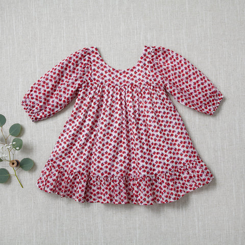 Fall Prairie Dress - Flower Fields in Red
