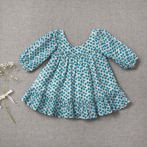 Fall Prairie Dress - Flower Fields in Blue