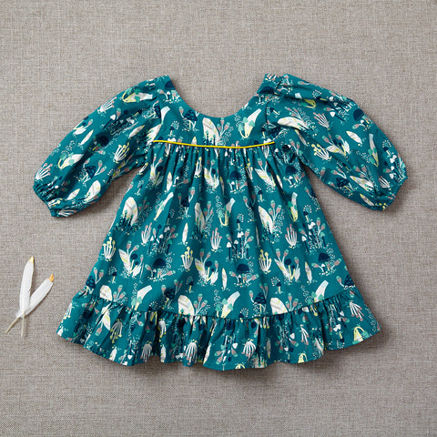 Fall Prairie Dress - Teal Mushrooms (Rare Edition) (Size 6/7 Only - LAST ONE)