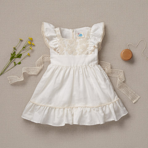 Flutter Dress - French White Linen