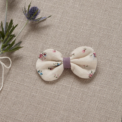 Hair Bow - Lavender Linen