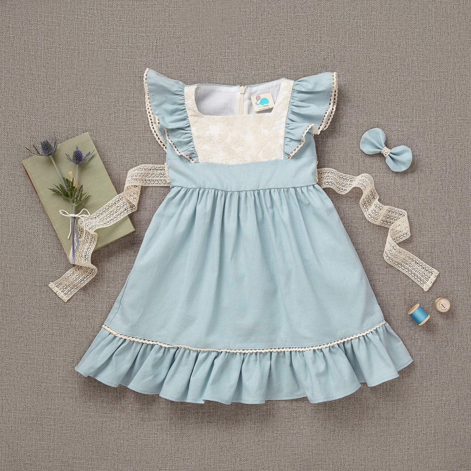 Flutter Dress - Alice Blue Linen