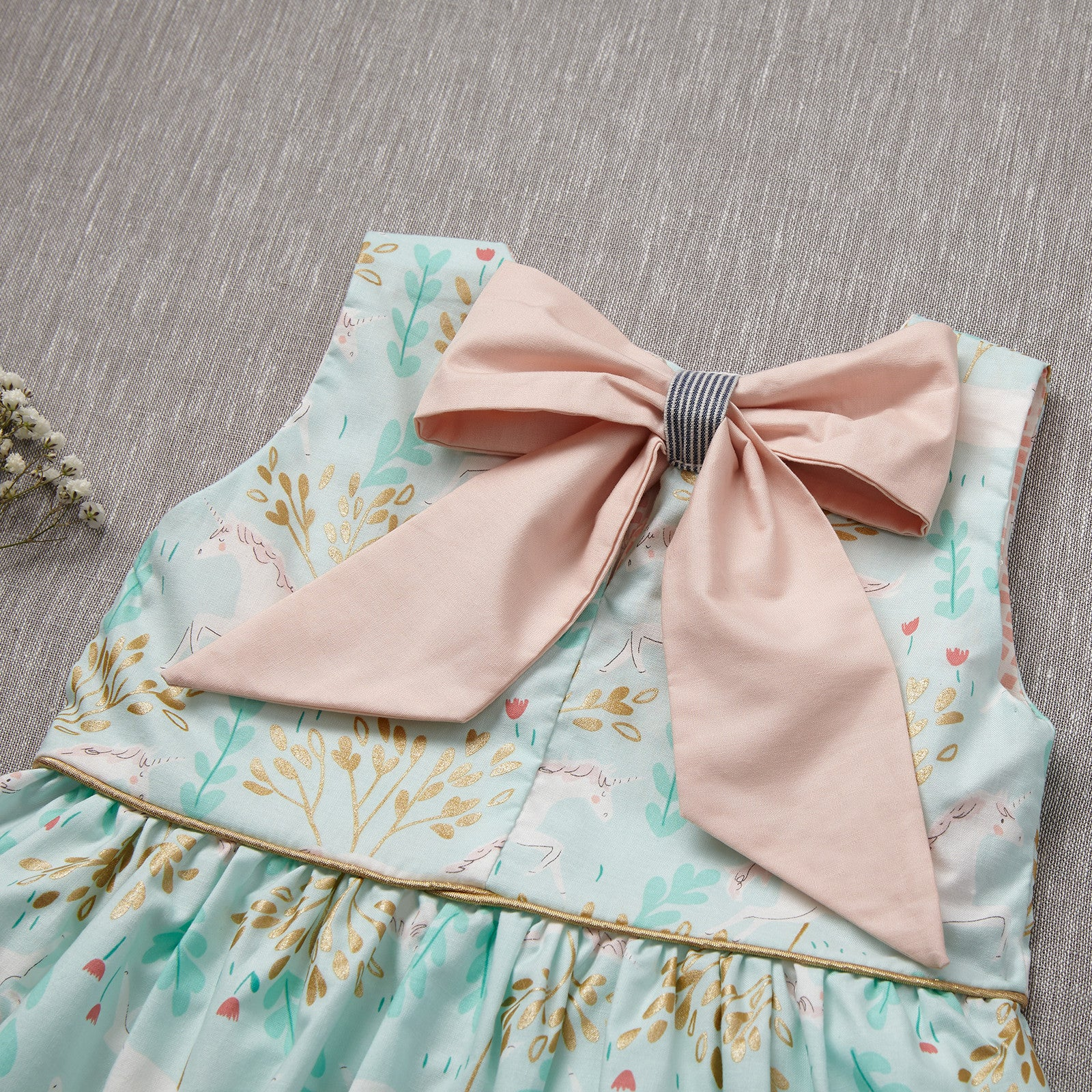 Curtsy Dress - Unicorn in Mint