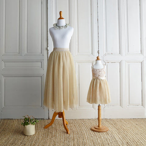 Twirly Tulle Skirt (Women) - Gold Lurex