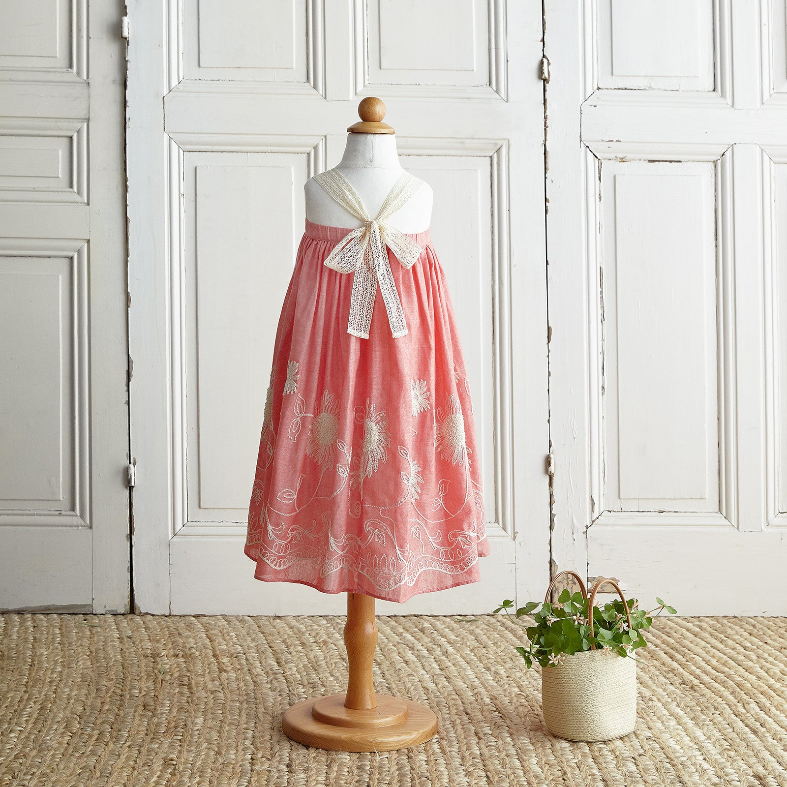 Embroidered Dress - Vintage Red