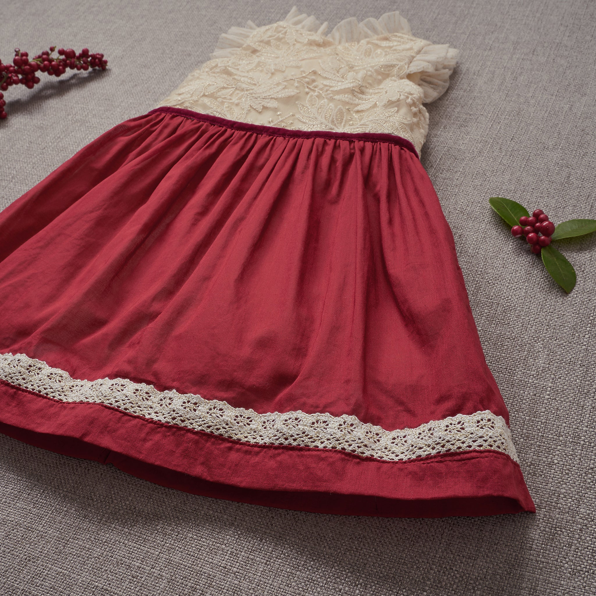 Holly Dress - Crimson