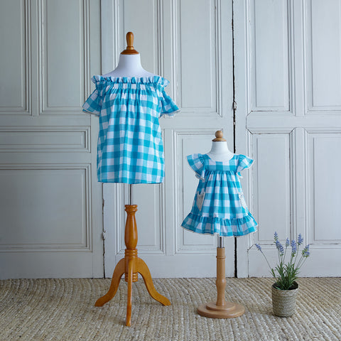Off-Shoulder Gingham Blouse - Dorothy Blue