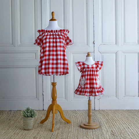 Off-Shoulder Gingham Blouse - Cherry Red