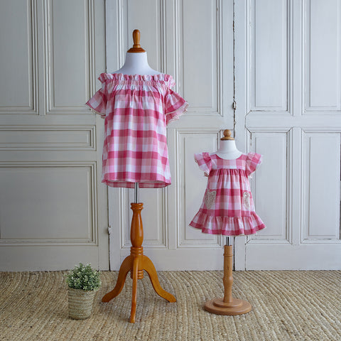Off-Shoulder Gingham Blouse - Ranuculus Pink