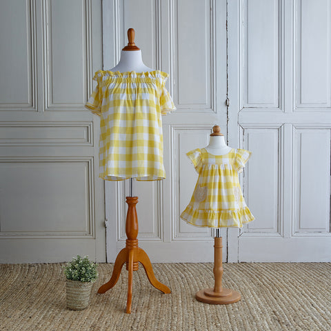 Off-Shoulder Gingham Blouse - Sunflower Yellow