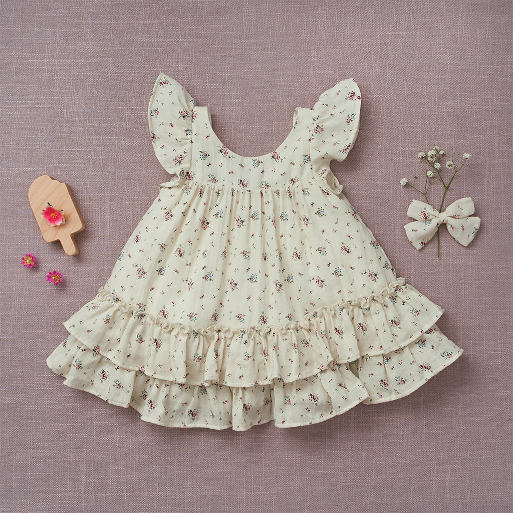 Prairie Dress - Cream Floral