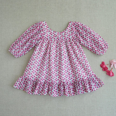 Fall Prairie Dress - Flower Fields in Pink