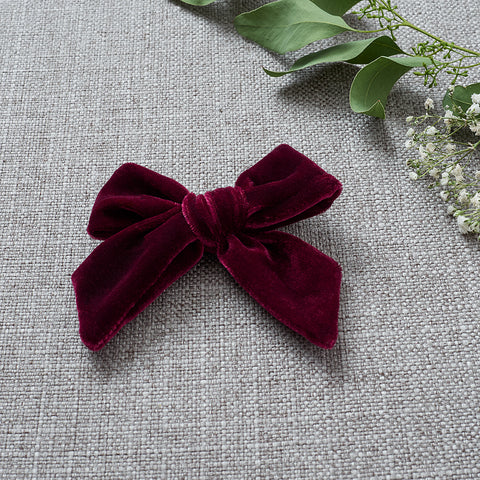 Velvety Bow Soft Headband - Deep Crimson