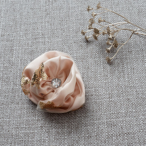 Little Princess Rosette Hair Clip - Blush