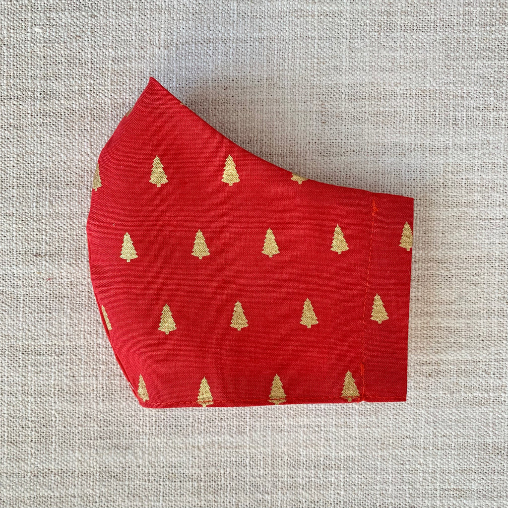*In Stock* Cloth Masks (Adult & Child) - Gold Trees on Red