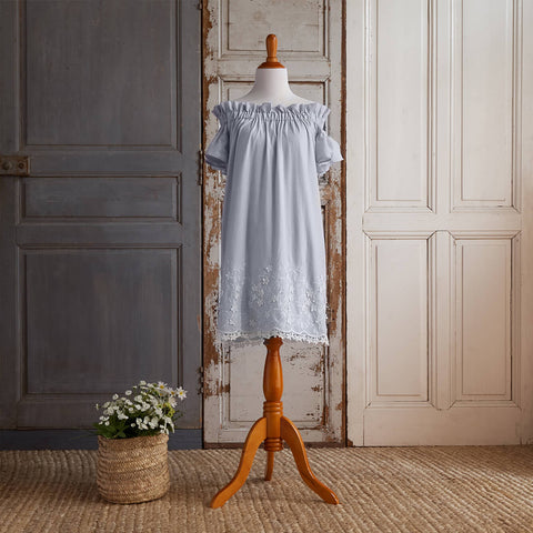 Off-Shoulder Embroidered Dress (Women) - Blue Bonnets