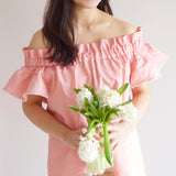 Off-Shoulder Blouse - Blush Linen (Women)