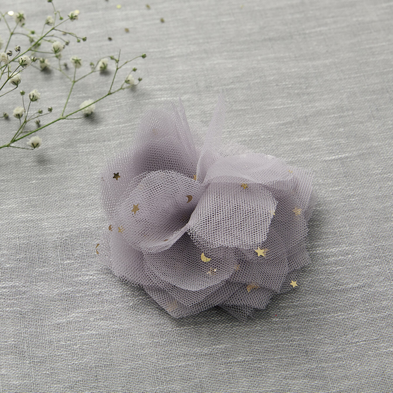 Tulle Flower Clip - Lilac
