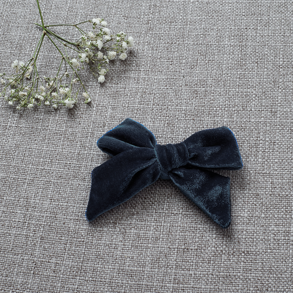 Velvety Bow Soft Headband - Slate (FINAL SALE)