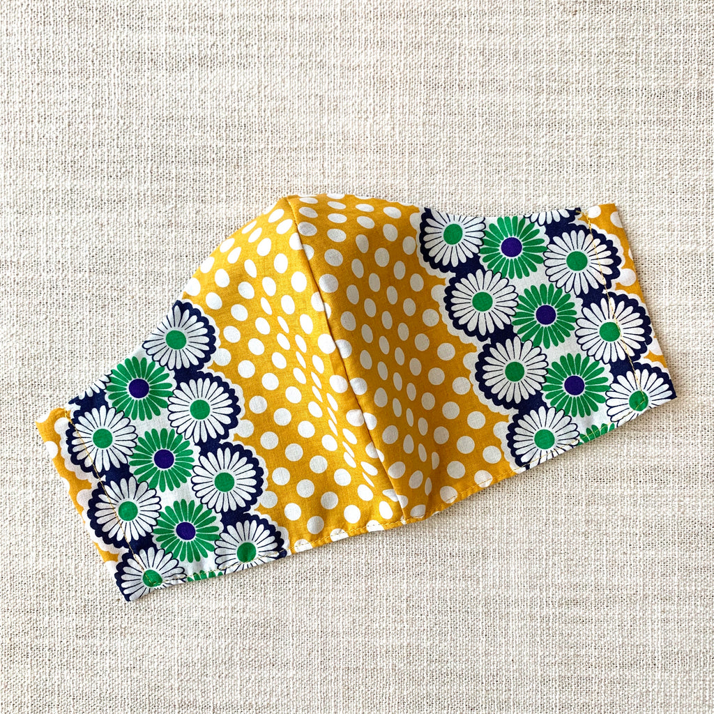 *In Stock* Cloth Masks (Adult & Child) - Dots & Daisies Mustard