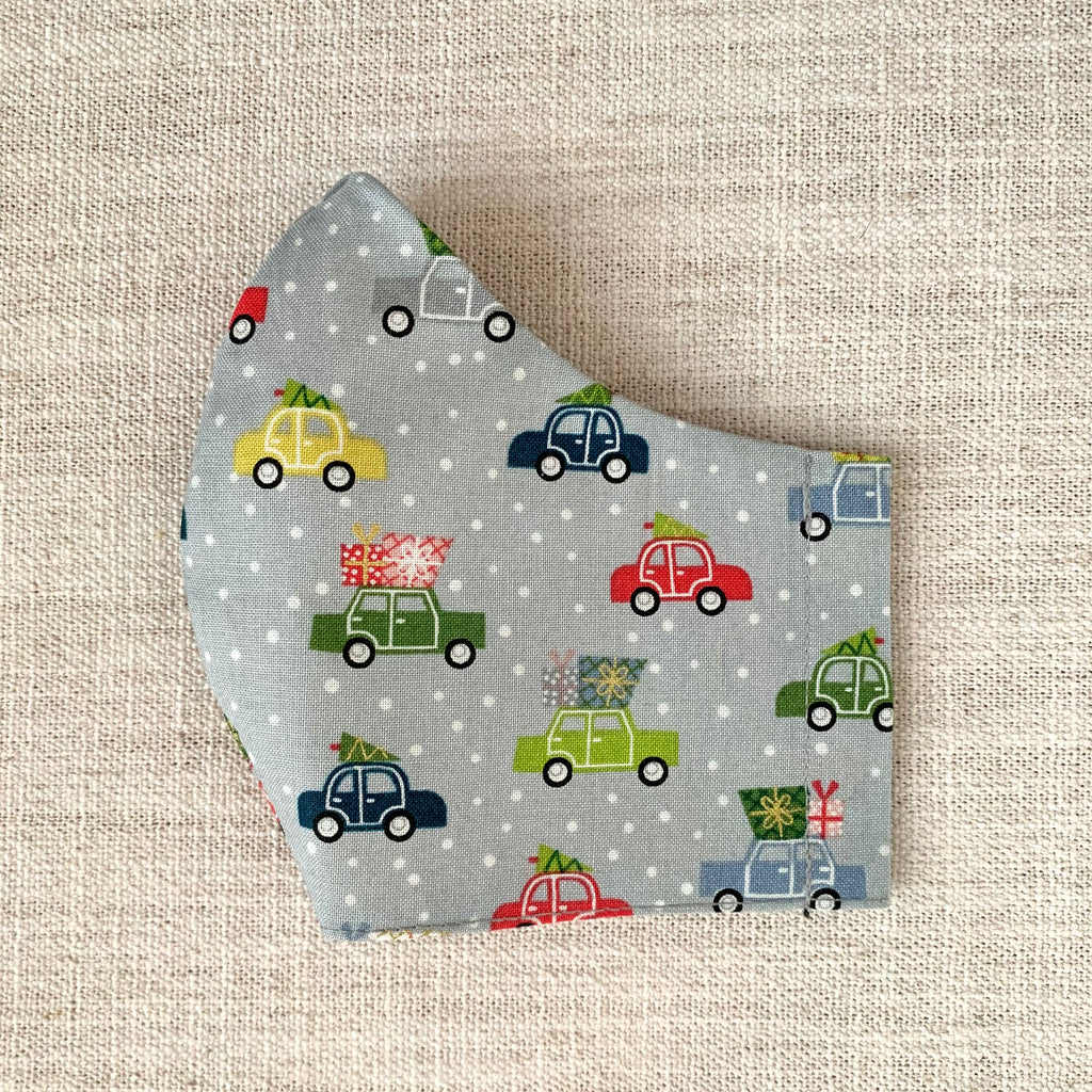 *In Stock* Cloth Masks (Adult & Child) - Holiday Cars Gray