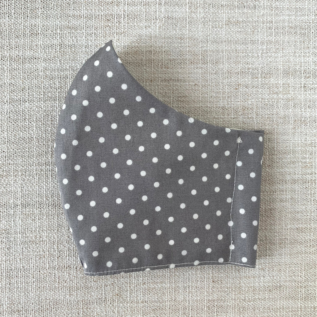 *In Stock* Cloth Masks (Adult & Child) - White Dots on Gray