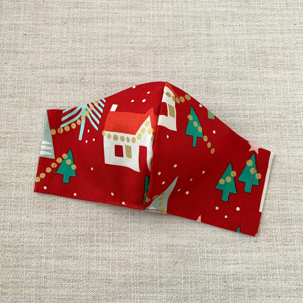 *In Stock* Cloth Masks (Adult & Child) - Festive Town Red