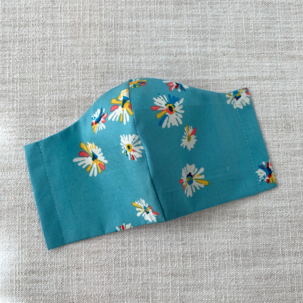 *In Stock* Cloth Masks (Adult & Child) - Blossoms on Blue